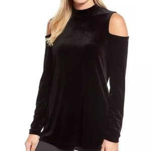 Halogen black velvet cold shoulder mock neck tunic